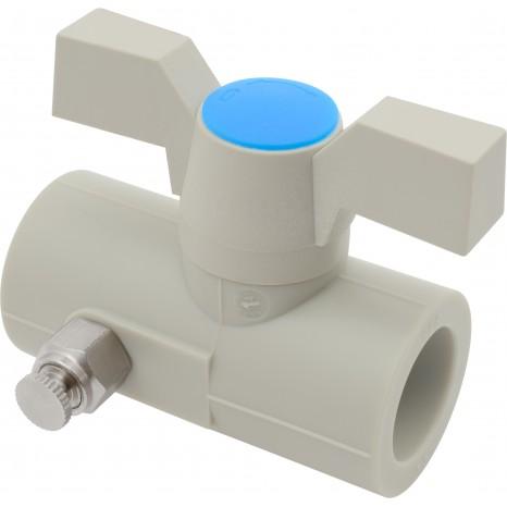 Кран пластиковый шаровой с выпускным клапаном FV-Plast